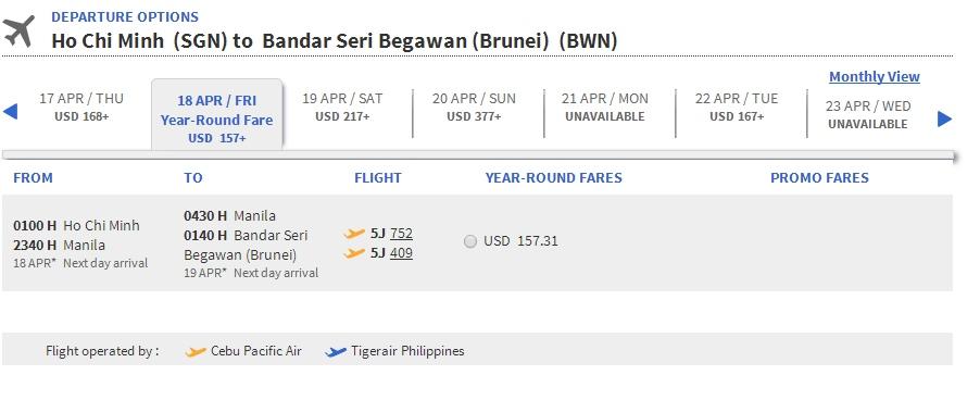 Vé máy bay giá rẻ Hồ Chí Minh đi Brunei