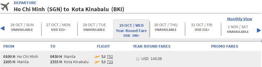 Vé máy bay Sài Gòn đi Kota Kinabalu