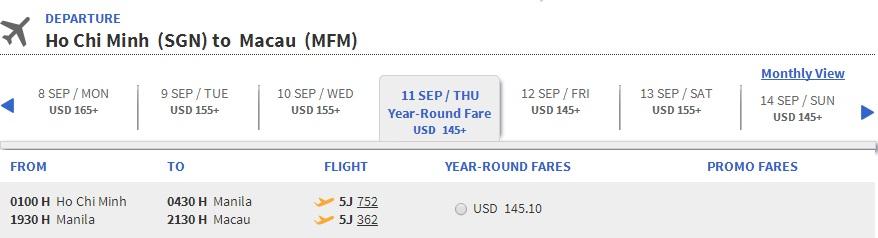 Vé máy bay đi Macao bao nhiêu tiền?