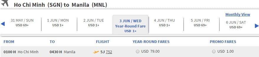 Siêu khuyến mại vé máy bay đi Manila 1 USD