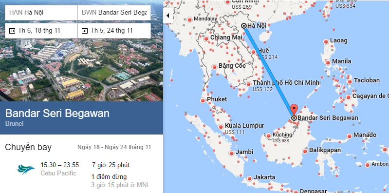 Tham khảo hành trình bay từ Hà Nội đến Bandar Seri Begawan
