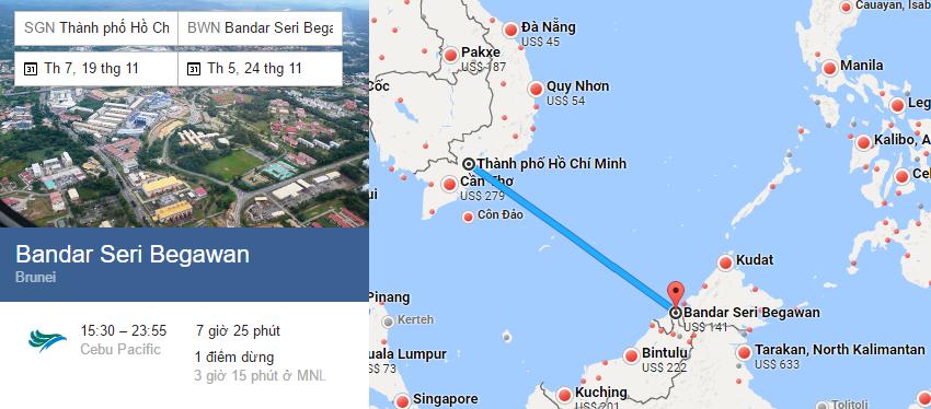 Tham khảo hành trình bay từ TP HCM đến Bandar Seri Begawan