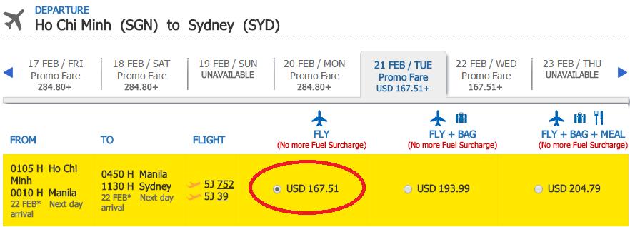 HCM-Sydney t2 cebu