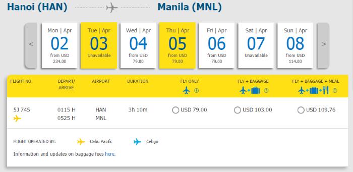 Hành trình bay từ Hà Nội đi Manila