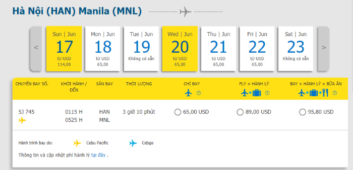 Hành trình Hà Nội đi Manila