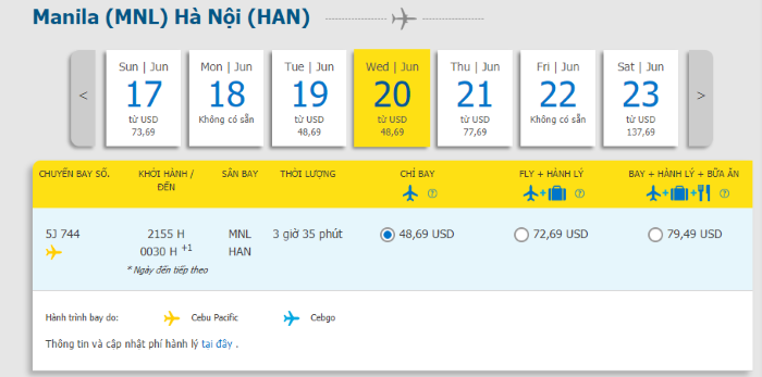 Hành trình Manila đi Hà Nội