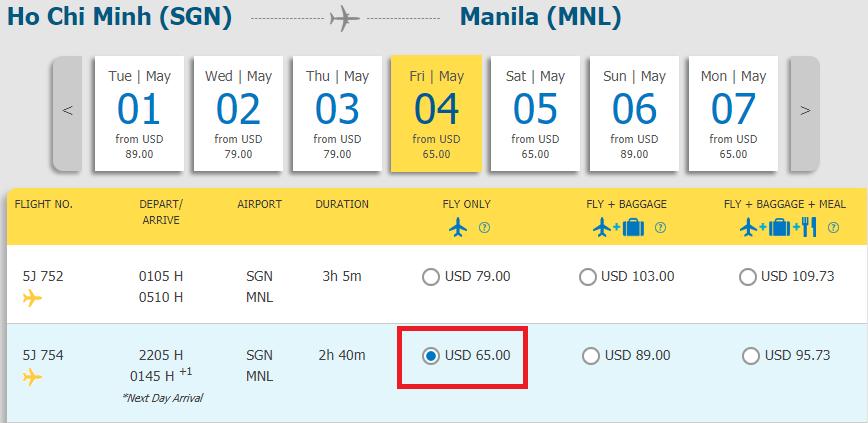 Vé máy bay TP HCM đi Manila