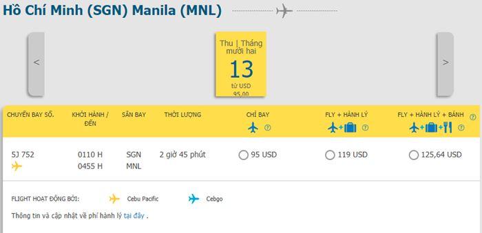 Tham khảo giá vé hành trình Hồ Chí Minh đi Manila