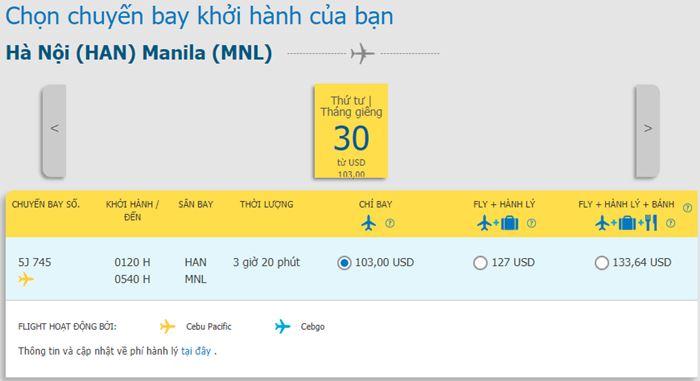 Tham khảo giá vé hành trình Hà Nội đi Manila