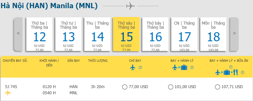 Khuyến mãi từ Hà Nội đi Manila