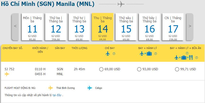 Khuyến mãi từ Hồ Chí Minh đi Manila