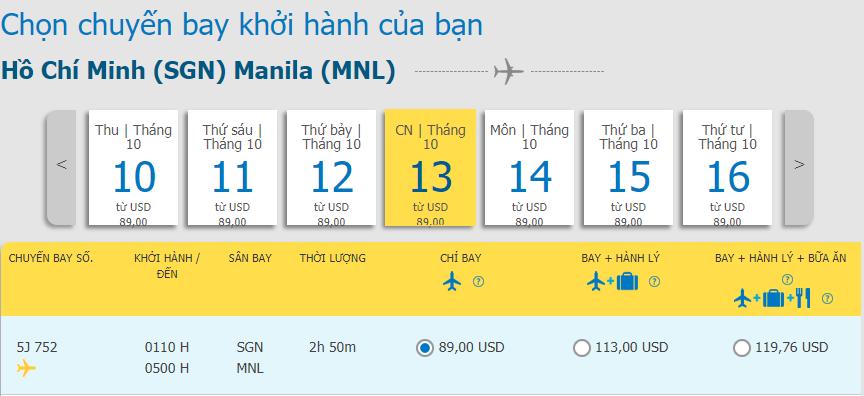 Giá vé máy bay khuyến mãi từ Hồ Chí Minh đi Manila
