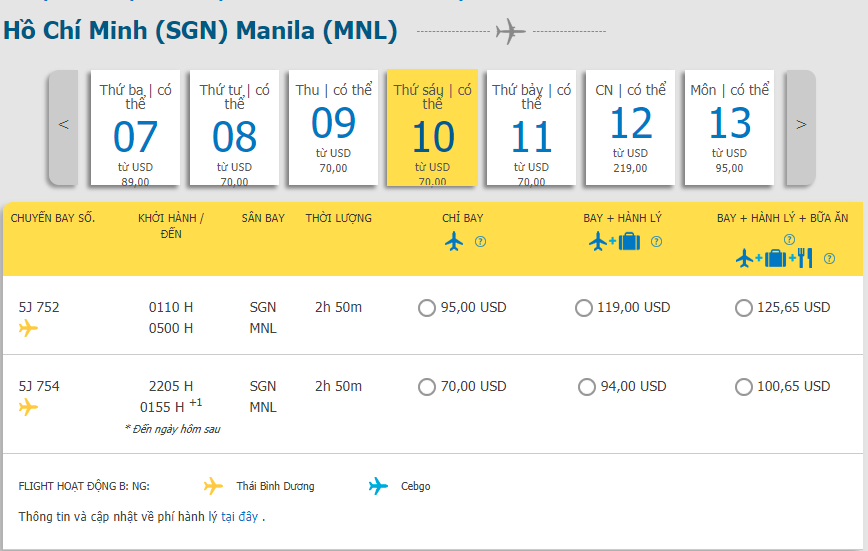 Giá vé máy bay hành trình Hồ Chí Minh đi Manila từ Cebu Pacific