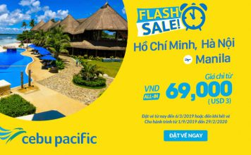 Khuyến mãi chỉ 3 USD du lịch thả ga cùng Cebu Pacific