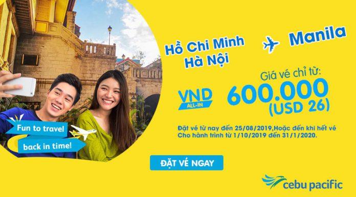 Cebu Pacific khuyến mãi bay từ Việt Nam đi Philippines chỉ 26 USD