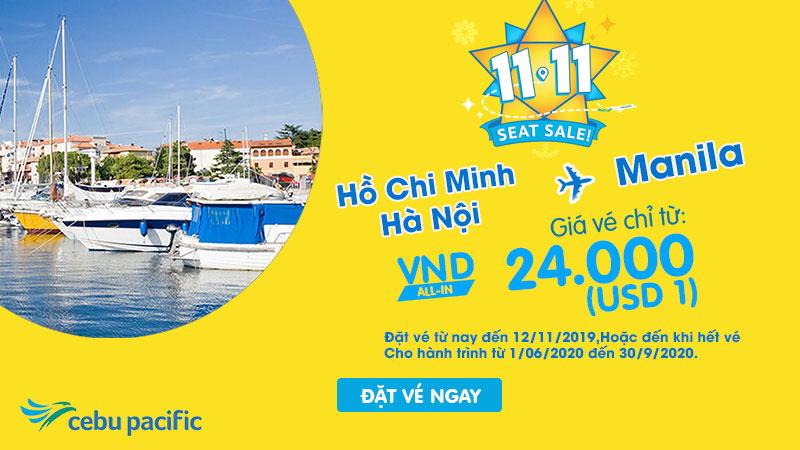 Khuyến mãi Cebu Pacific bay từ Việt Nam đến Philippines chỉ 1 USD